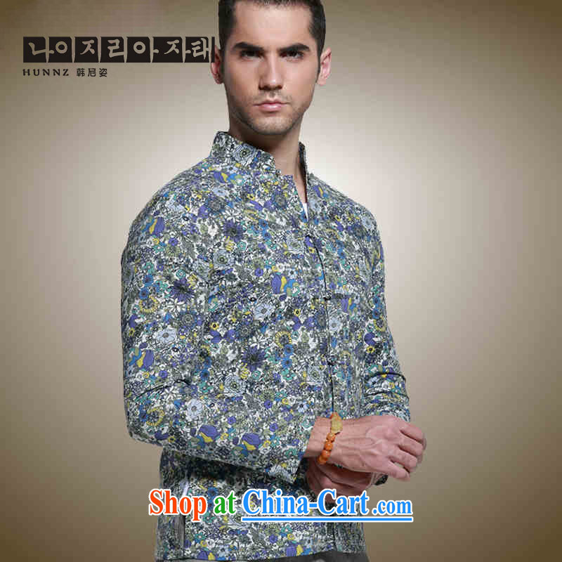 Products HANNIZI China wind men's Chinese long-sleeved shirt-tie, for cultivating men's retro small floral dress suit 185