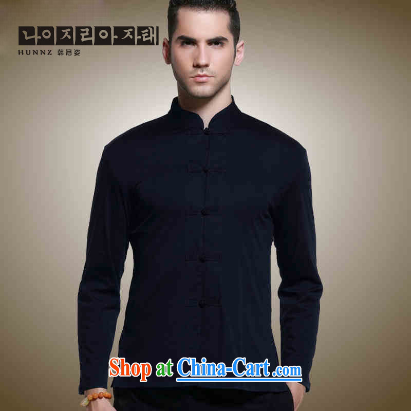 Products HANNIZI classical beauty Tang with long sleeved shirt China wind up for the charge-back shirts natural cotton the male jacket dark blue 185