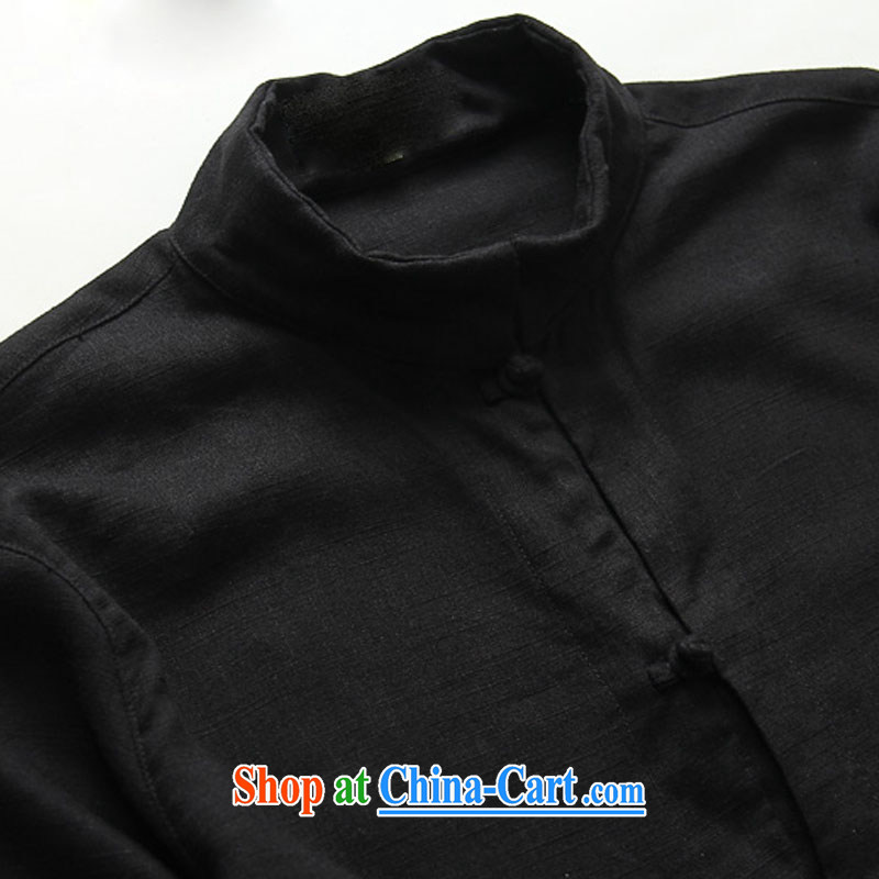 Products HANNIZI natural linen men tang on the buckle, for Chinese men's jackets China wind cultivating three-dimensional shirt black 185, Korea, (hannizi), shopping on the Internet