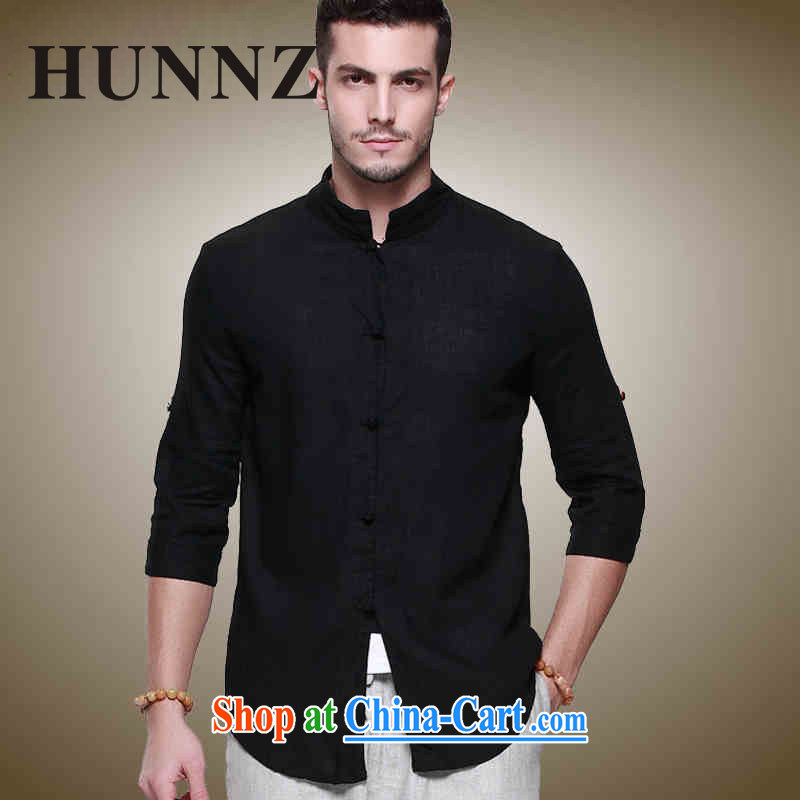 Products HUNNZ natural linen men's Chinese-buckle up for Chinese men's jackets China wind cultivating stereo shirt black 185