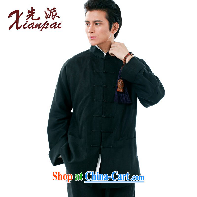 To send new spring and summer Chinese men and Chinese linen long-sleeved T-shirt and stylish-tie jacket, coat on Father's Day Gift retro-cuff Ethnic Wind leisure loose XL Black linen long-sleeved single Yi 4 XL the 3 day shipping