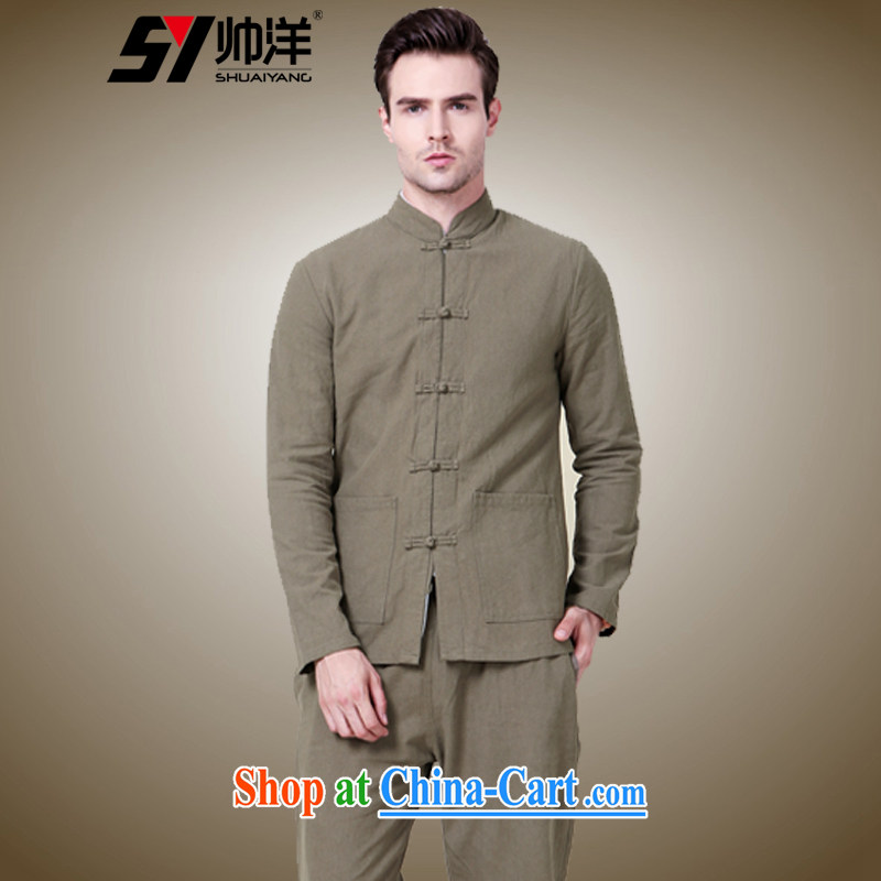 cool ocean 2015 New Men's Chinese Kit Chinese long-sleeved pants men and beauty jacket China wind national clothing cotton the autumn pickles with color (long-sleeved pants kit) 42/180