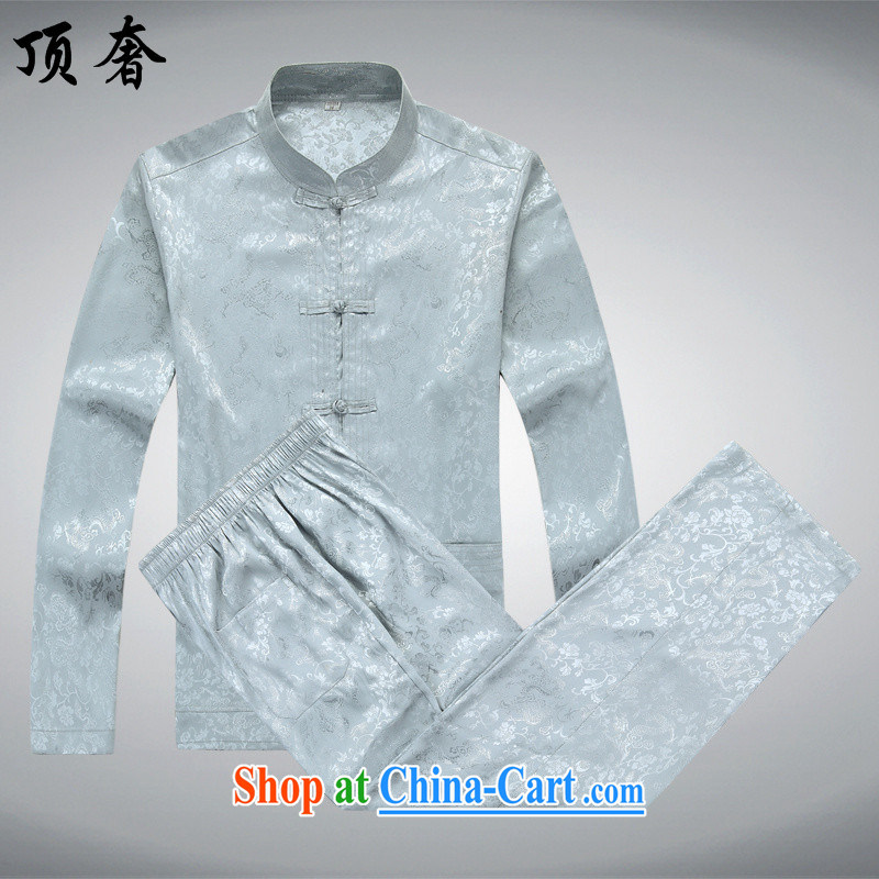 The top luxury men's long-sleeved Tang package installed, autumn, for T-shirt China wind the Life dress Tang replace jogging in serving older Tang package installed, the collar shirt silver gray Kit 190/XXXL