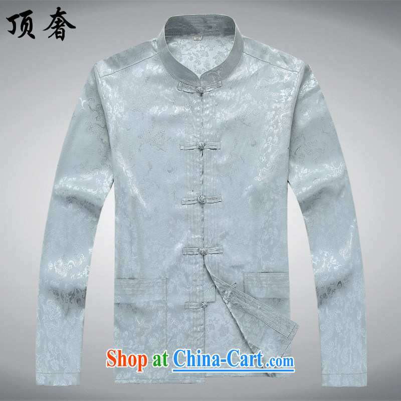 Top Luxury men's long-sleeved Tang package installed, autumn, collared T-shirt China wind the Life?dress Tang with jogging in serving older Tang package installed, the collar shirt gray T-shirt 190/XXXL