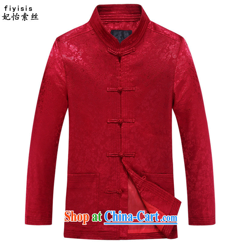 Princess Selina CHOW in spring and autumn, male Tang with relaxed version, for the charge-back China wind in older Chinese long-sleeved jacket men's Chinese 8802, dragons take Uhlans on T-shirt XXXL/