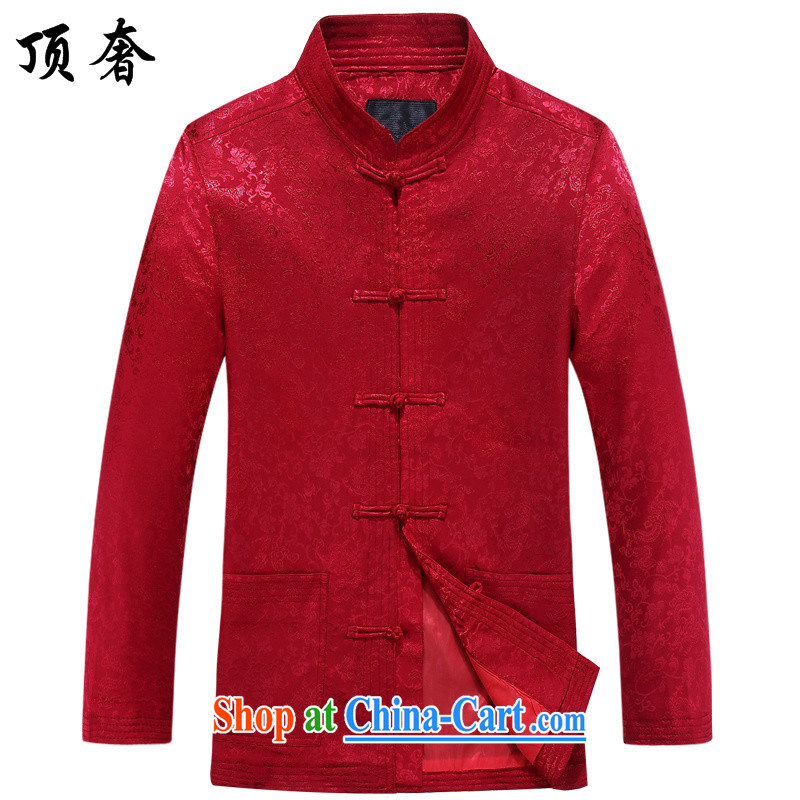 Top Luxury men's long-sleeved Tang with autumn, the collar T-shirt China wind red the life dress Tang with jogging in serving older Chinese Han-man and the collar shirt red Tang jackets 190/XXXL