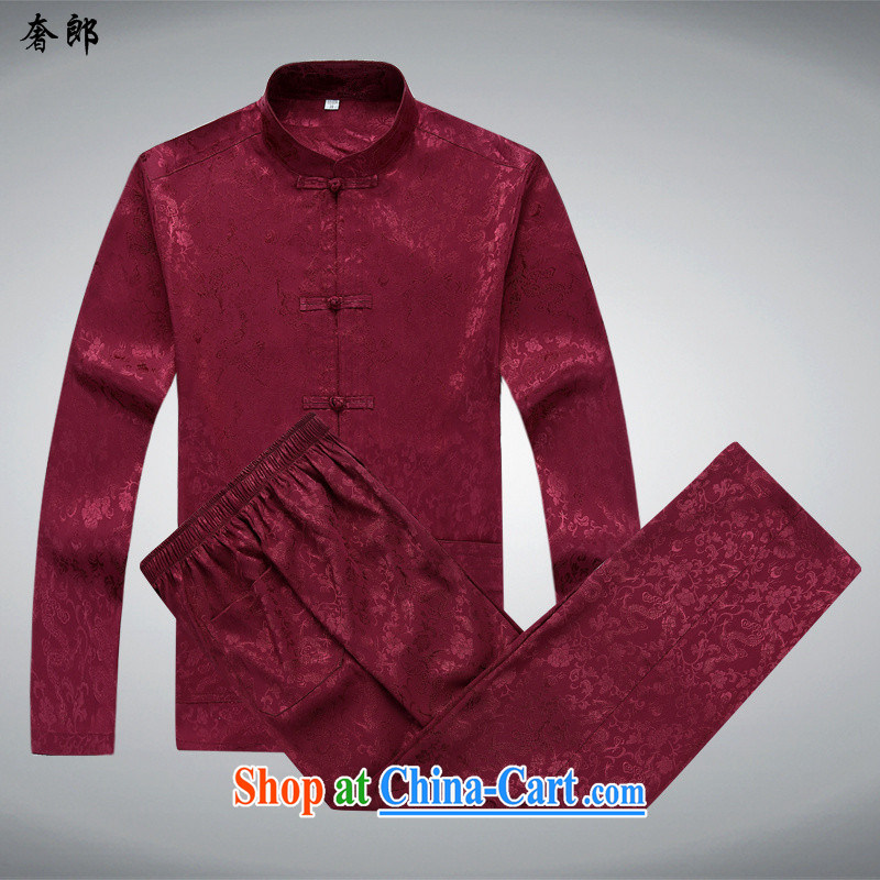 extravagance, China's wind summer and spring in autumn Older ethnic Han-Chinese men's long-sleeved T-shirt Dad loaded shirt China wind style improved, for the charge-back exercise clothing red T-shirt and pants XXXL/190