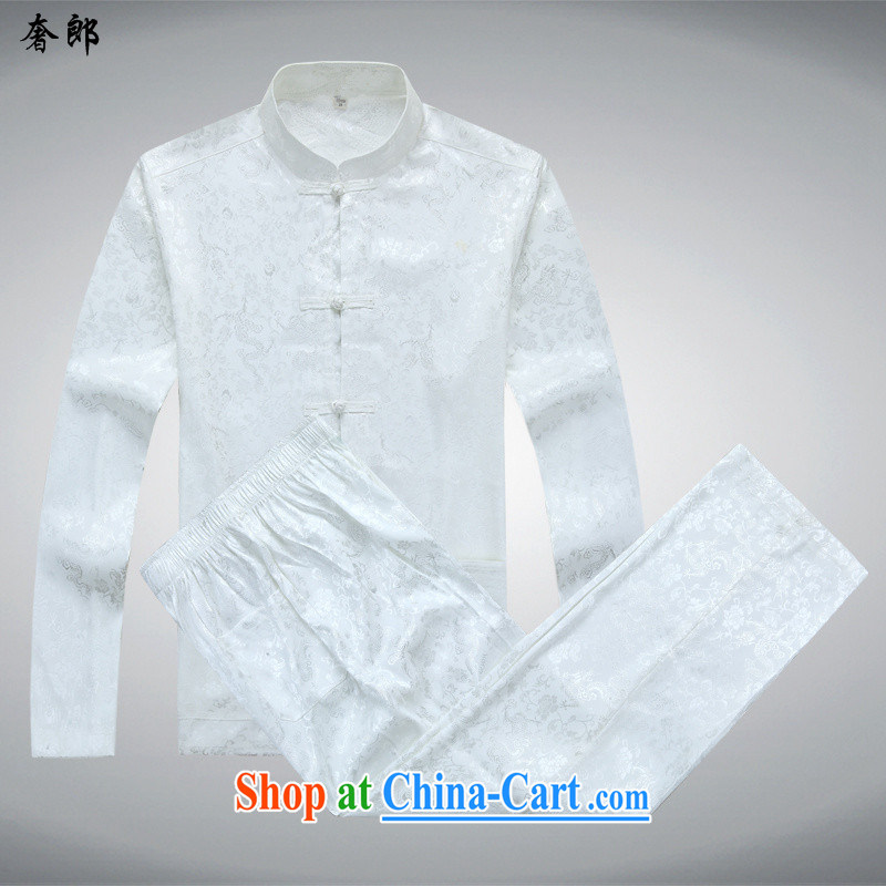 Luxury health, older Chinese men's long-sleeved older persons shirt older persons summer shirt Grandpa installed China wind Dad T-shirt with improved package, for the charge-back white Kit T-shirt and pants S/165