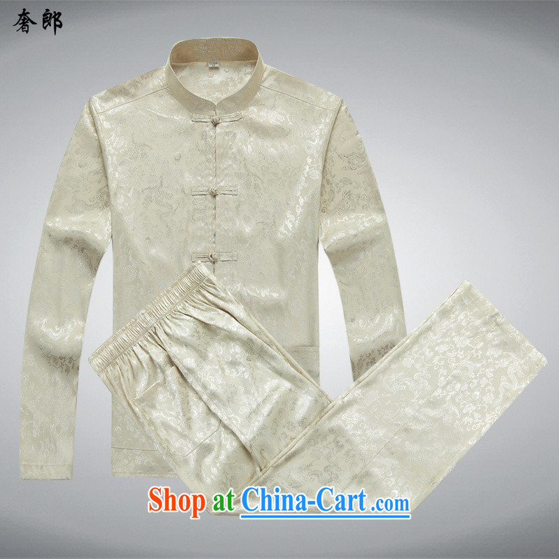 Luxury health new summer Tang loading in the older summer couples Male Female birthday, long-sleeved Chinese father with T-shirt Kit T-shirt and pants beige Kit T-shirt and pants M/170