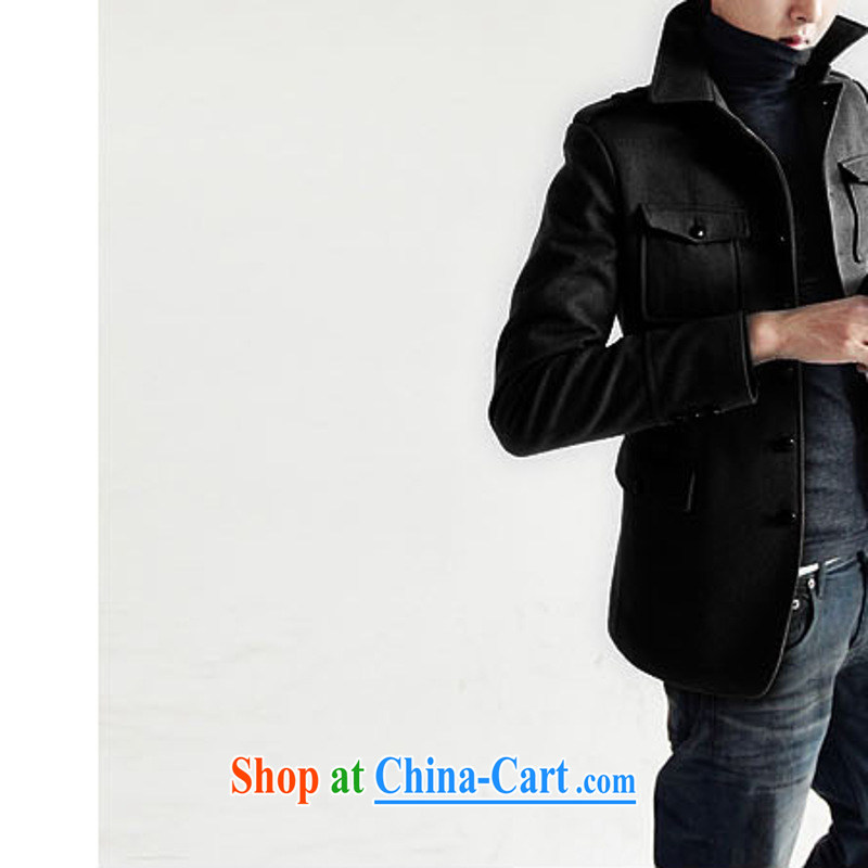 Dan Jie Shi _DANJIESHI_ 2015 stylish fall on the Korean beauty lounge jacket hair? The jacket and collar retro smock male and black XL