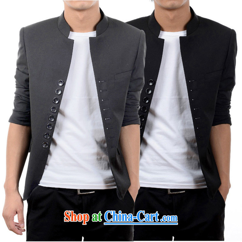 Dan Jie Shi (DANJIESHI) 2015 young trendy and doomed trend retro 8 snap the collar smock suit light gray 180/96 (XL)