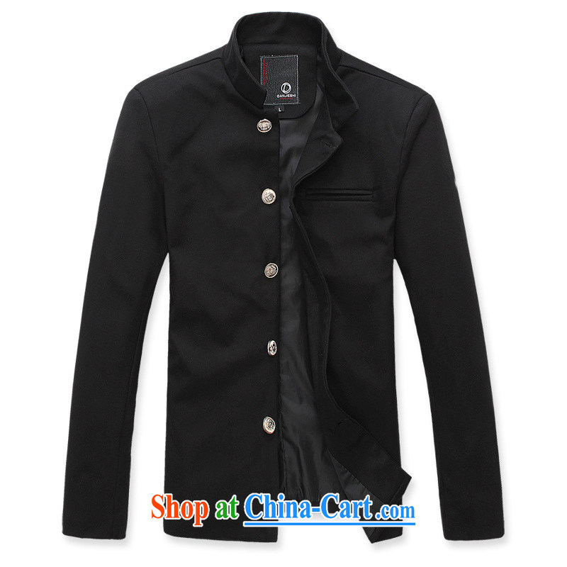 Dan Jie Shi (DANJIESHI) 2015 trendy blood College Korean men smock cuffs the tie and collar small jacket black XXL