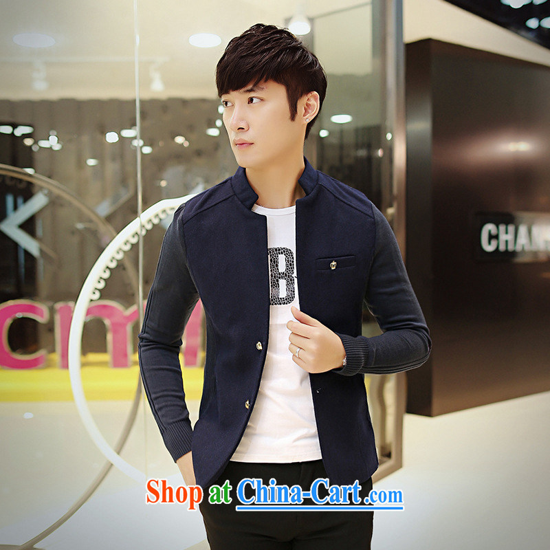 Dan Jie Shi _DANJIESHI_ 2015 stylish and youthful hair is Knitted cuffs Korean casual suit Male version jacket men's beauty suit, dark blue 170 _88 _M_