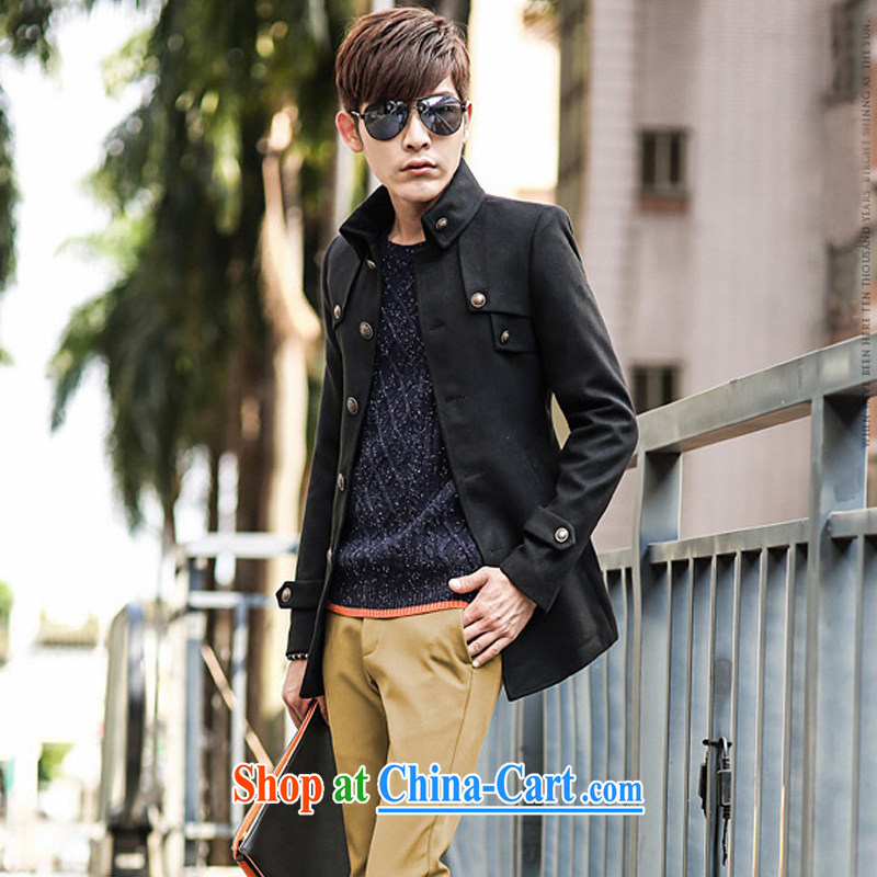 Dan Jie Shi (DANJIESHI) 2015 stylish fall and winter season, the men's hair coat is Korean in cultivating long single row tie smock jacket black M