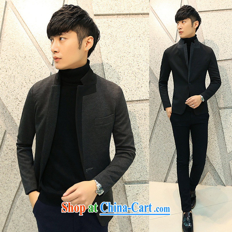 Dan Jie Shi _DANJIESHI_ 2015 trendy men and smock collar small suit Male version has the jacket casual jacket black XL