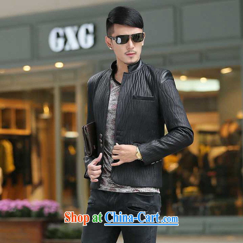 Dan Jie Shi (DANJIESHI) 2015 youth leisure and stylish high-end up, business men and taxi stand collar leather jacket smock jacket suits the color XXXL, Dan Jie Shi (DAN JIE SHI), online shopping
