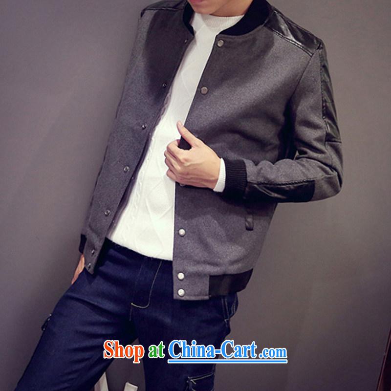 UYUK autumn 2015 the collar smock stitching spell leather jacket large, male Korean Beauty smock jacket gray 5 XL