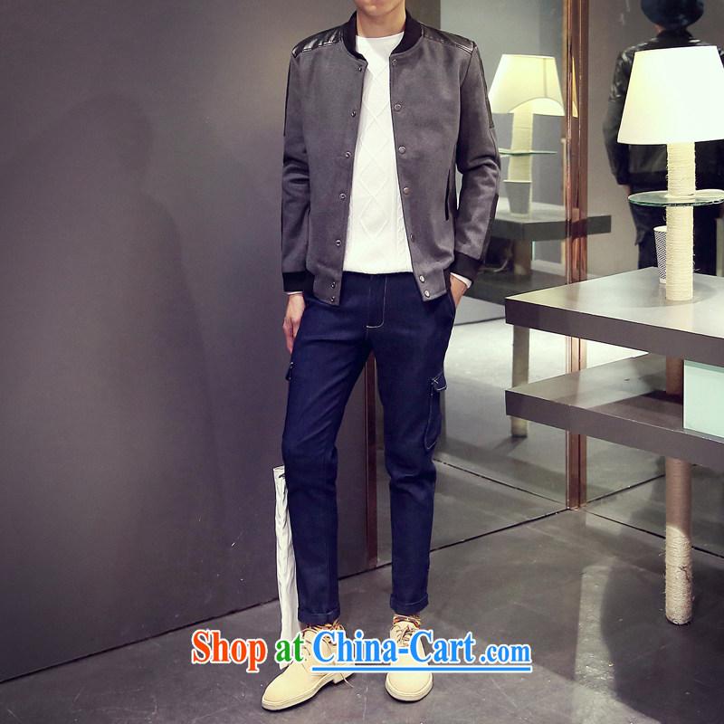 UYUK autumn 2015, smock for stitching the leather jacket large, male Korean Beauty smock jacket gray 5 XL, UYUK, shopping on the Internet