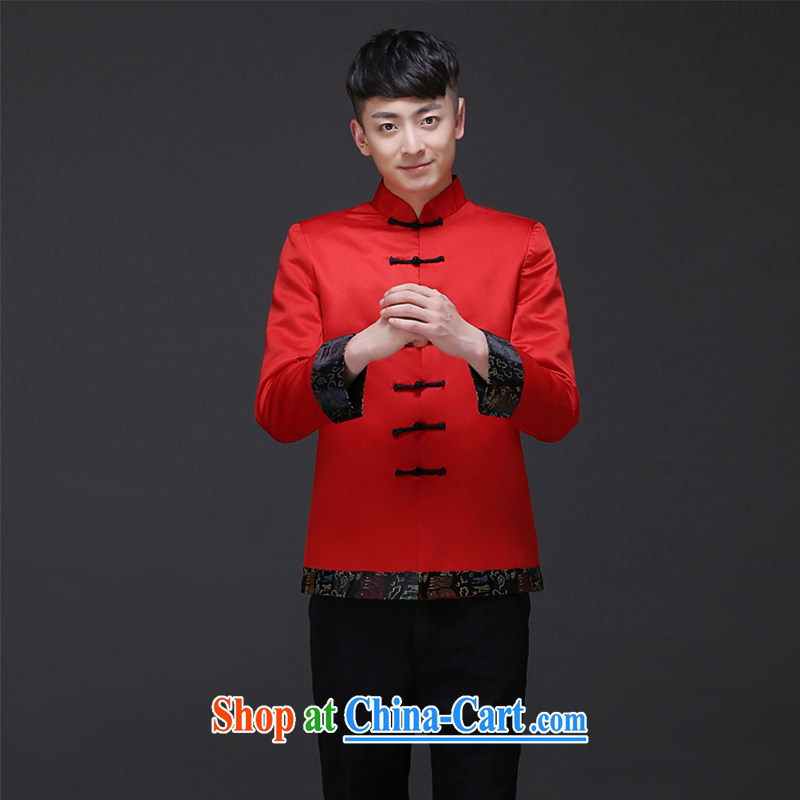 Imperial Land advisory committee Sau Wo service men's new Chinese wedding red married men and Chinese Soo Wo service smock dress the groom toast dress shirt a S