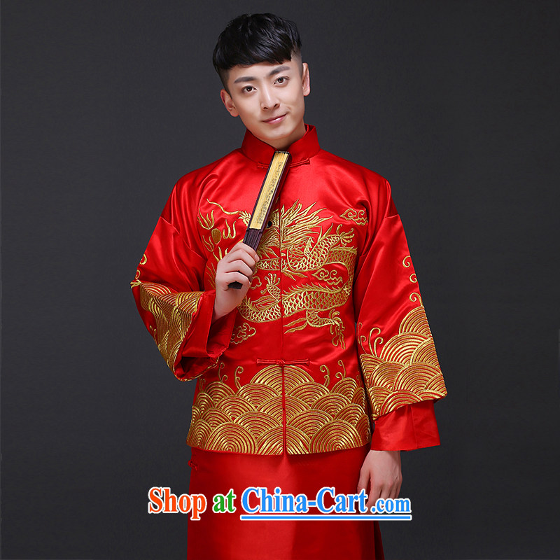Imperial Land advisory committee Sau Wo service men's clothing Chinese wedding clothes costumes show reel service men's wedding dress red groom's clothing eschewed Chinese clothing a S