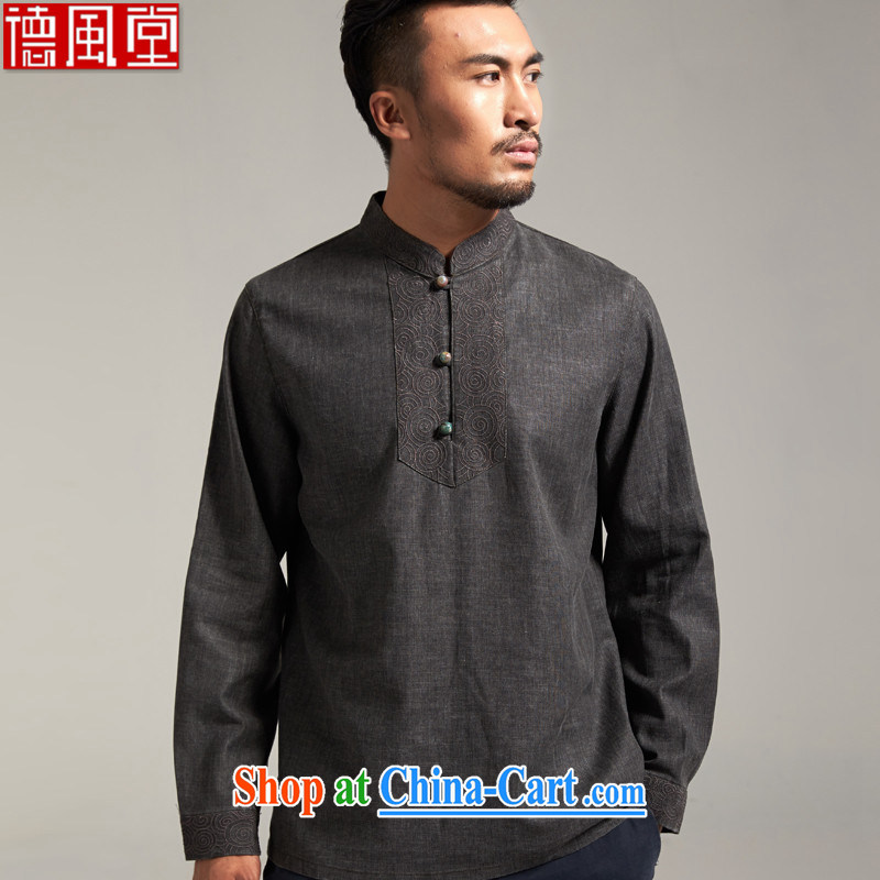 De-Tong Sheung Ning 100% linen men's Chinese China wind youth fashion beauty T pension 2015 spring new dark gray 3 XL/180