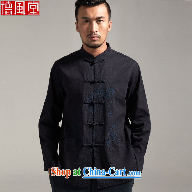 De wind hall of fall?100% Cotton Men's Chinese China wind long-sleeved 2015 autumn new Chinese clothing dark blue 4 XL/185