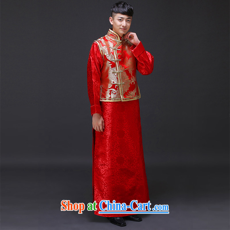 Imperial Land advisory committee Sau Wo service men's upscale men's costumes smock red Chinese style wedding dress the bride with long-grain wedding dress show reel clothes clothing a S