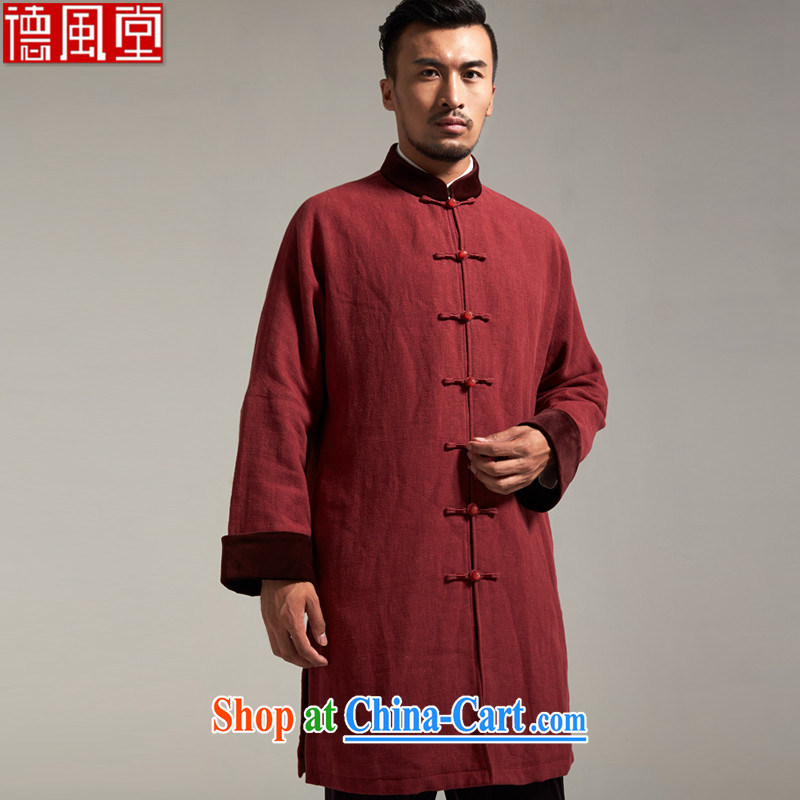De wind church God Ling Chinese men's Chinese Dress cotton jacket Chinese wind jacket minimalist atmosphere surrounded the original Chinese Wind and spring and autumn 2015, scarlet 2XL/180