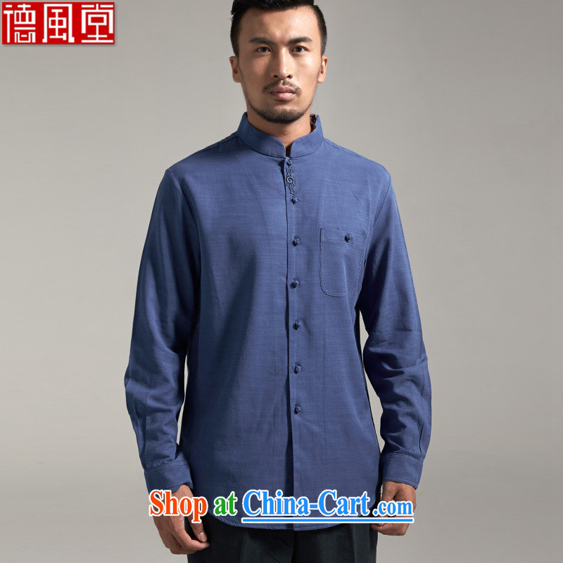De-tong-ho, Autumn 2015 new day silk long-sleeved Chinese wind men's Chinese shirt solid youth, Chinese clothing upscale embroidery 3XL/185
