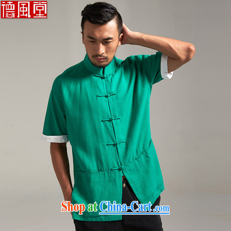 De-tong dumping Jun days, short-sleeved Chinese male and T-shirts, summer 2015 New Beauty China wind men's clothing Chinese clothing green 2 XL