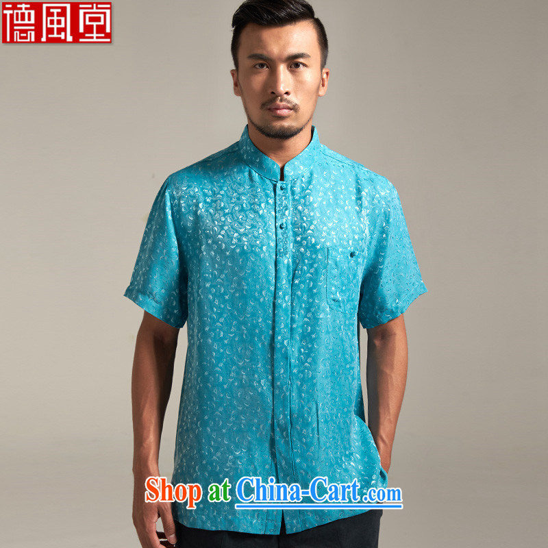 De wind church drunk handsome short-sleeve Chinese male and T-shirts, summer 2015 New Beauty China wind male Chinese clothing Lake blue 3 XL