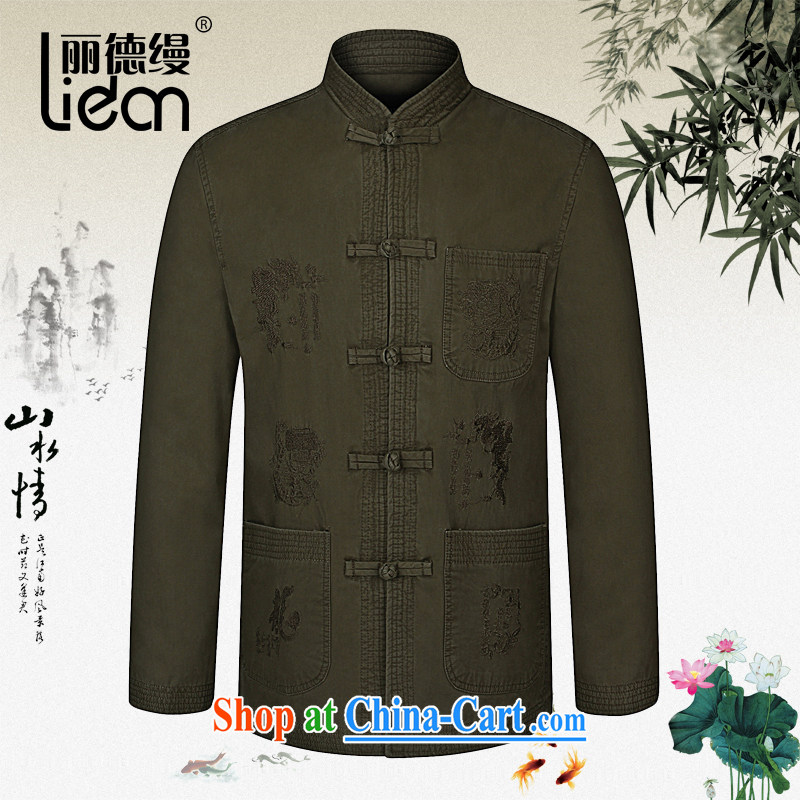 Lai Tak as follows 2015 spring new middle-aged and older men is detained for the Chinese father with China wind Han-cotton long-sleeved jacket khaki-colored 190