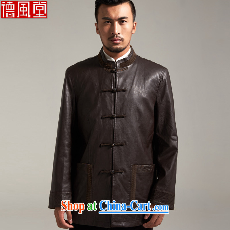 De-tong-kun SARS China wind men's jackets Chinese 2015 autumn and winter long-sleeved middle-aged father with gray Chinese clothing brown 3 XL/185