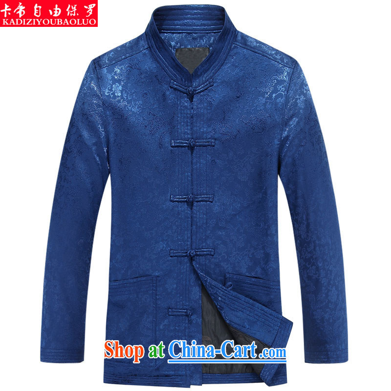 The Royal free Paul 2015 men's clothing fall/winter new Chinese Tang long-sleeved jacket with older clothing Ethnic Wind Chinese T-shirt package mail blue 190