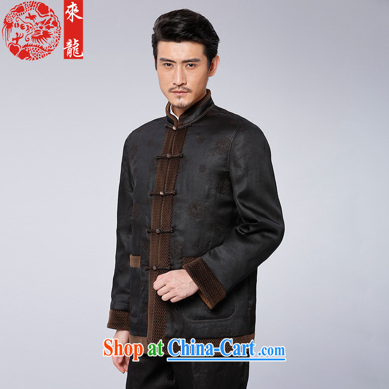 To Kowloon Tong with autumn and winter, China wind men's fragrance cloud yarn retro jacket 12,959 deep coffee-colored dark coffee-colored 52