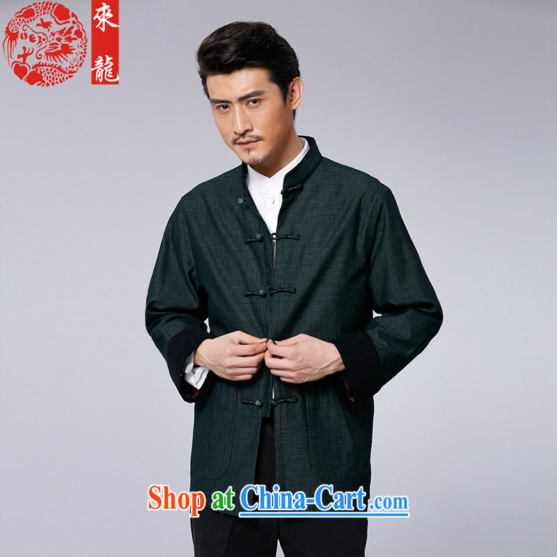 To Kowloon Tong with autumn, China wind men's cotton blend, long-sleeved T-shirt 14,361 Green Green 52