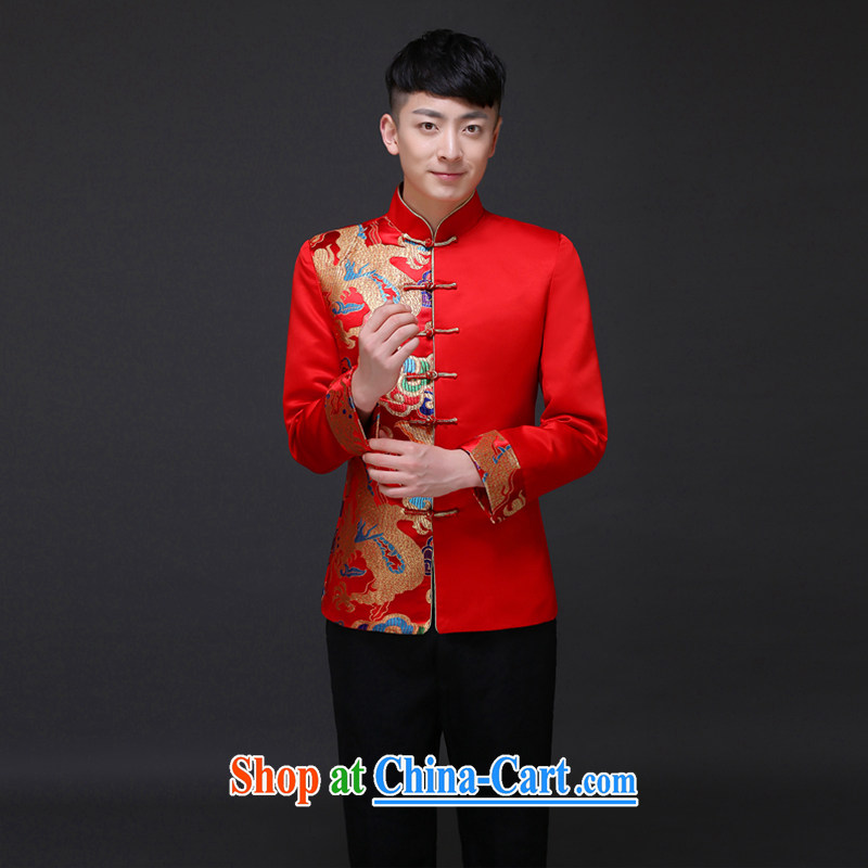 Imperial Land advisory committee Sau Wo service men and the Chinese marriage the groom with male Chinese show reel service and style Dragon tattoo-costumed serving toast wedding dress shirt a M