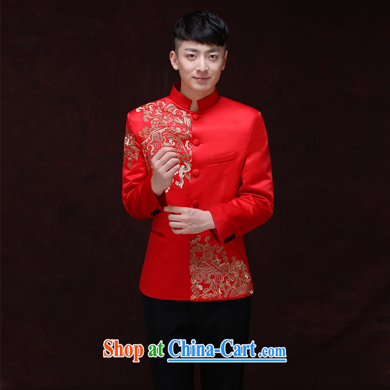 Miss CHOY So-yuk-Ki-su Wo service men's Chinese wedding groom's long-sleeved Sau Wo service men Chinese Generalissimo red wedding dress costumes serving Southern New T-shirt a S