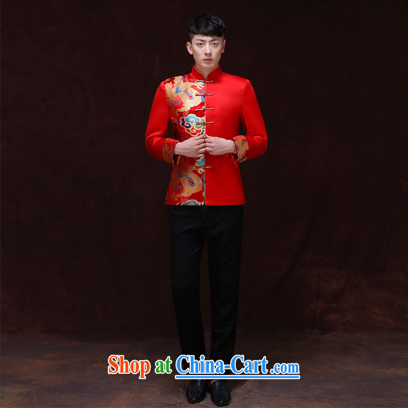 Miss CHOY So-yuk-ki-soo-wo service men and the Chinese marriage the groom the men's Chinese-su Wo service, for warm classical hi service wedding toast dress shirt a L
