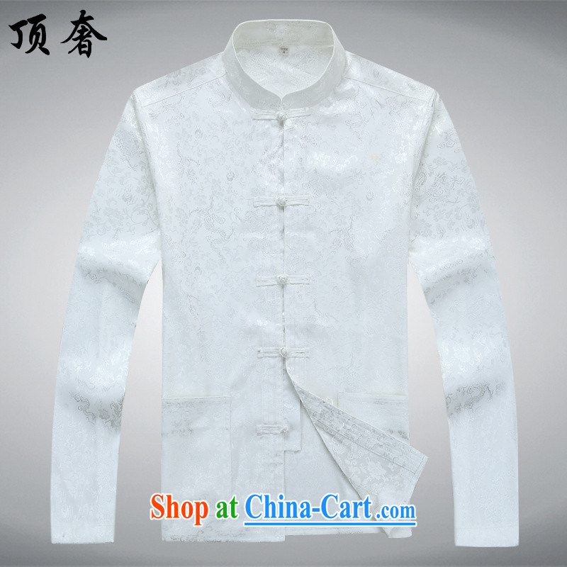 Top Luxury men's Tang is set loose version, for China wind, served the Life dress, older Chinese Kit father loaded with Grandpa white Kit 185/XXL, top luxury, shopping on the Internet