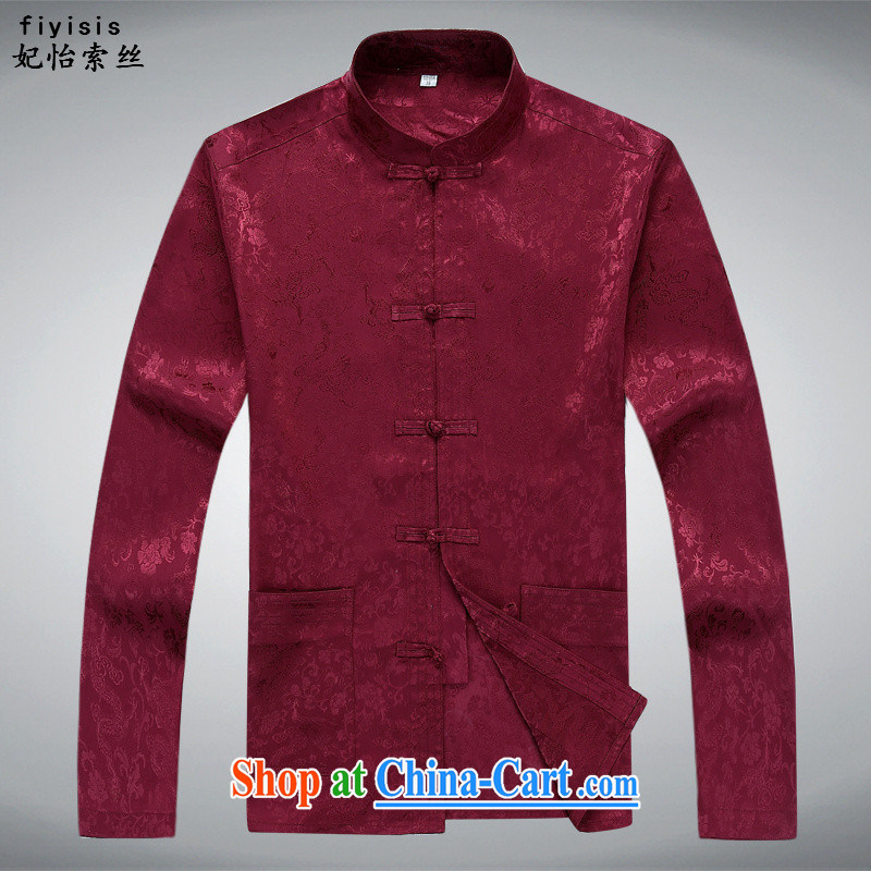 Princess SELINA CHOW (fiyisis) middle-aged men's long-sleeved men's autumn Tang with Han-national costumes, for middle-aged Chinese men's long-sleeved Kit white male maroon suite 190, Princess Selina Chow (fiyisis), and, on-line shopping