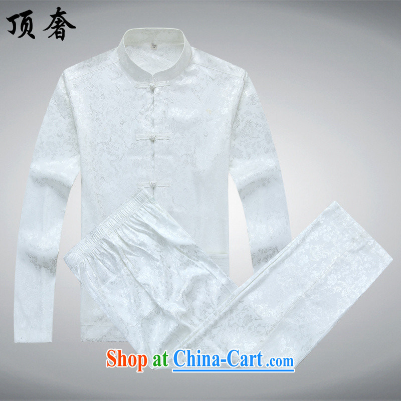 Top Luxury China wind long-sleeved men's Chinese Kit Chinese-port Chinese men's summer Dad loaded national dress the life dress jacket coat 2562 white Kit 180/XL
