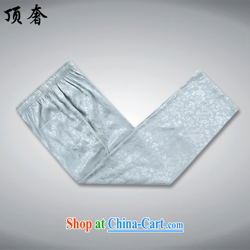 Top Luxury men's Tang is set loose version, for China wind, served the Life dress, older Chinese package with his father's grandfather with silver gray Kit 190/XXXL, top luxury, shopping on the Internet