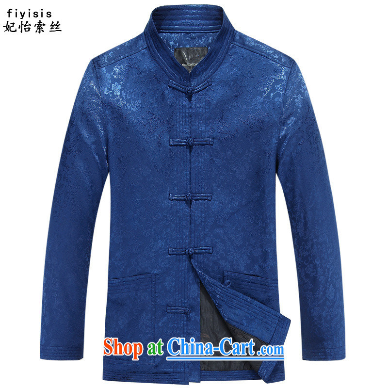 Princess SELINA CHOW _fiyisis_ in older Chinese men's T-shirt long-sleeved autumn and replace loose version father replace older people happy birthday male Tang blue T-shirt 190
