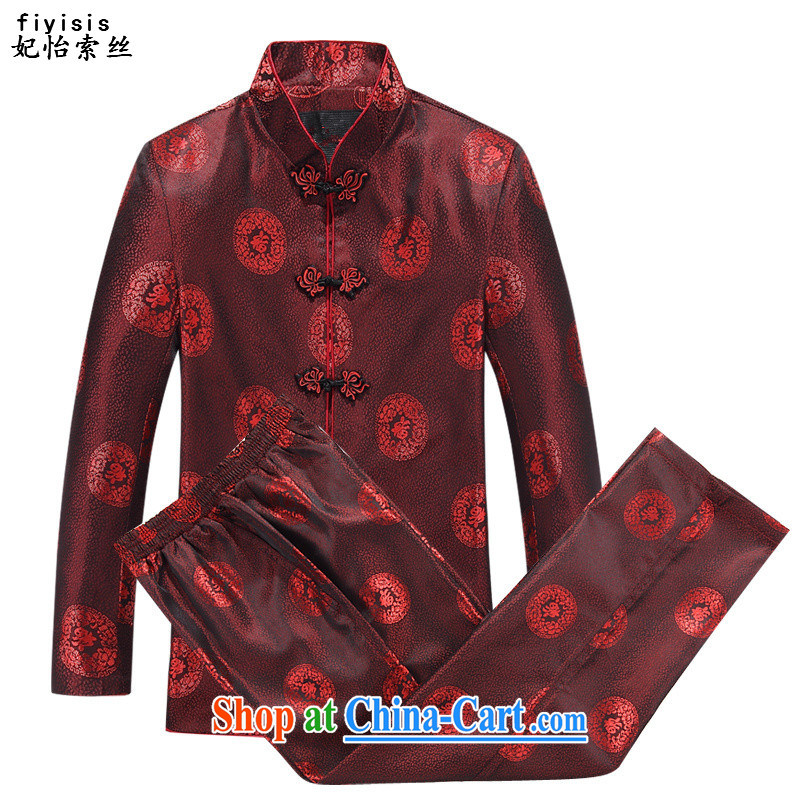 Princess SELINA CHOW _fiyisis聽 _ Ethnic Wind costumes, older Chinese Spring and long-sleeved T-shirt Chinese men and women couples red jacket men Kit T-shirt and pants 175 men