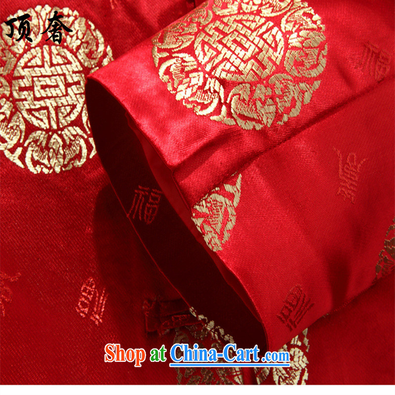 Top Luxury men Tang in older couples Chinese men and women long-sleeved national service men Chinese wedding father replace older persons birthday 8016 men, red T-shirt 180 women, and with the top luxury, shopping on the Internet