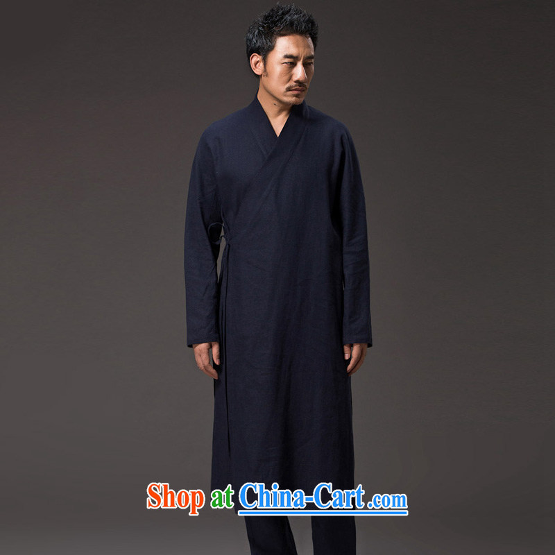 Internationally renowned Chinese wind men's long windbreaker cotton the SNF tea service Chinese long-sleeved improved Han-Nepal spiritual practice serving loose the tight T-shirt and dark blue XL_175