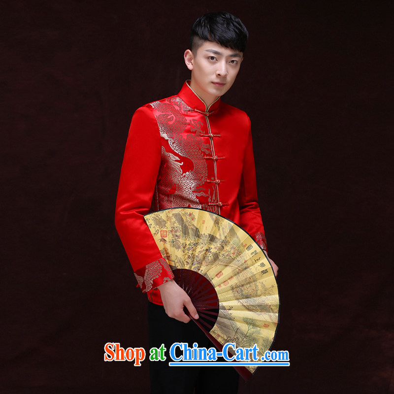 Miss CHOY So-yuk-ki-soo-wo service men and replacing the groom Chinese Chinese wedding dress long-grain-su Wo service men and the groom with men's costumes costume show and T-shirt A S