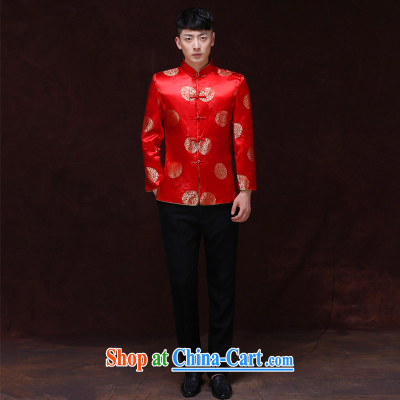 Miss CHOY So-yuk-Ki-su Wo service men's new Chinese wedding red married men and Chinese-su wo service smock dress the groom toast wedding dresses Chinese groom T-shirt with a M