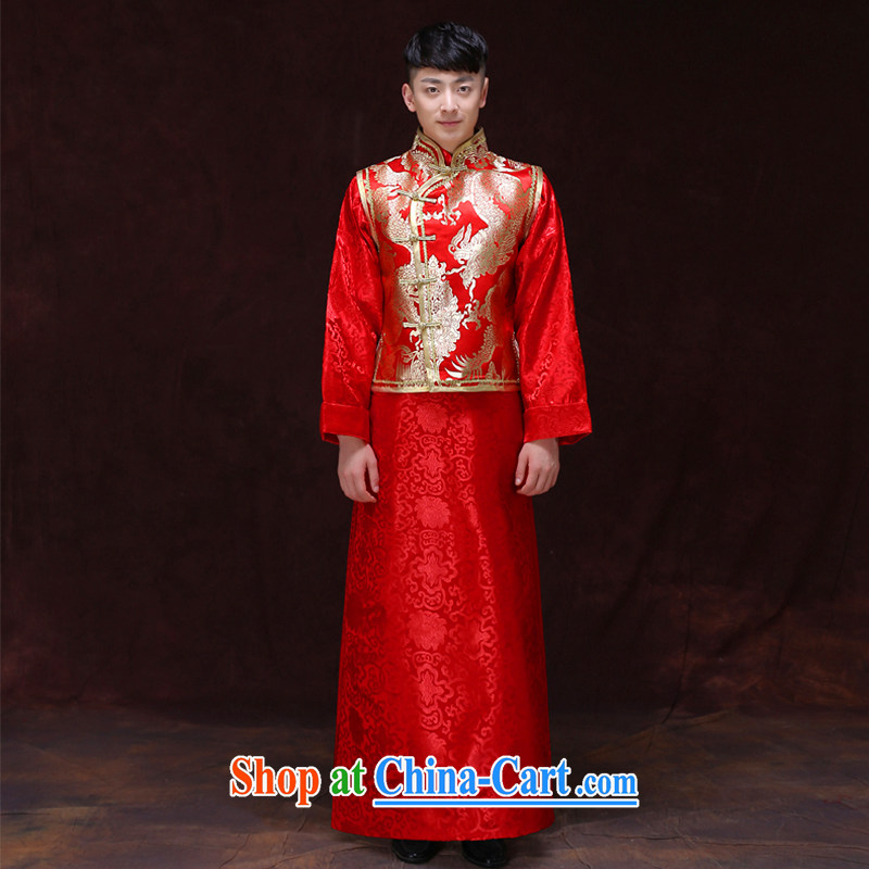 Miss CHOY So-yuk-ki-soo-wo service men's upscale men's costumes smock red Chinese style wedding dress the bride with long-grain wedding dress clothes a L